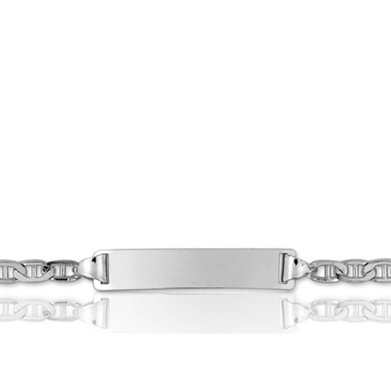 gourmette maille marine or blanc plaque rectangle de la marque lucas lucor ocarat