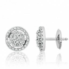 Puces d'oreilles or blanc 18 carats, cercle de diamants