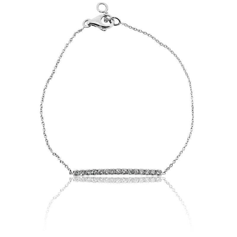 bracelet barrette en or blanc et pavage diamants pour femme de la marque allegoria sur ocarat. Black Bedroom Furniture Sets. Home Design Ideas