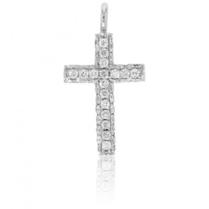 Croix Lumineuse Or Blanc 18K