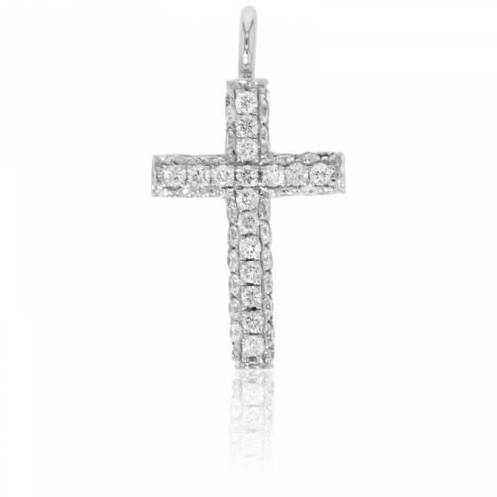 Croix or blanc 18K et pavage de diamants 0,25 carat
