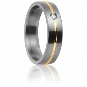 Alliance Cottos 6 mm, Titanium, Or Jaune et Diamant
