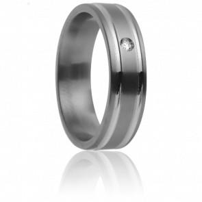 Alliance Méliades 5,50 mm, Titanium, Or Blanc 18K et Diamant