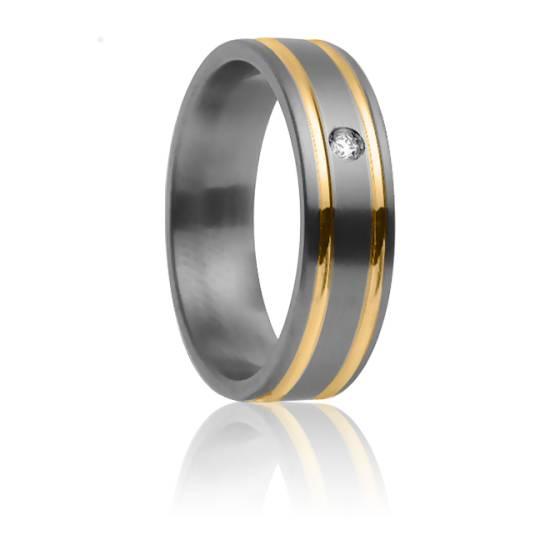Alliance Théia 5,50 mm, Titanium, Or Jaune et Diamant