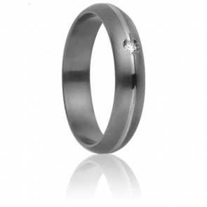 Alliance Mycènes 4 mm Titanium, Or Blanc et diamant