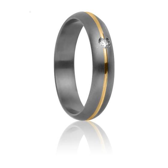Alliance Rhésos 4 mm, Titanium, Or Jaune 18K et diamant