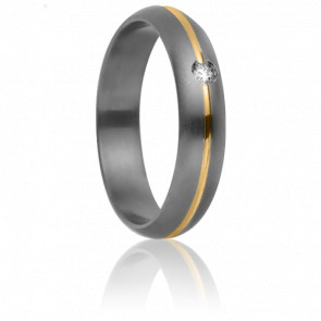 Alliance Rhésos 5 mm Diamant, Titanium et Or jaune 18K