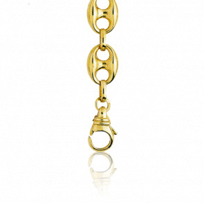 Bracelet Grain de Café Creux, Or Jaune 18K, longueur 21 cm