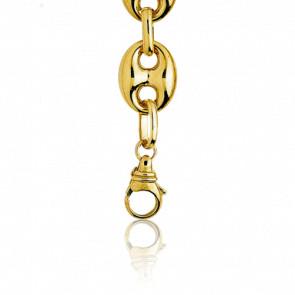 Bracelet Grain de Café Creux, Or Jaune 18K, longueur 19 cm