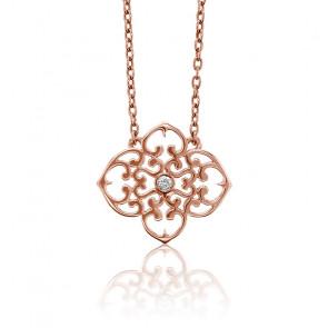 Collier Mini Trèfle Vermeil Or rose & Diamant