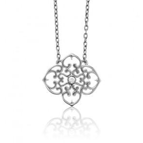 Collier Mini Trèfle Argent & Diamant