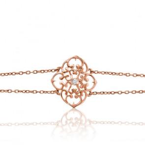 Bracelet Trèfle Vermeil Or rose & Diamant