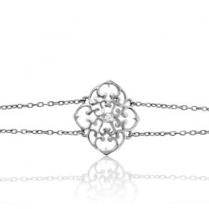 Bracelet Trèfle Argent & Diamant