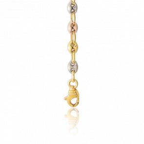 Bracelet Grain de Café Creux, 3 Ors 18K, longueur 18 cm