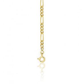 Bracelet maille cheval alternée 3-1, Or jaune 18K, 22 cm