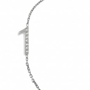 """Bracelet Chiffre """"1"""" Or Blanc et Diamants"""