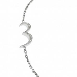 """Bracelet Chiffre """"3"""" Or Blanc et Diamants"""