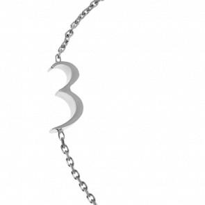 "Bracelet Chiffre ""3"" Or Blanc"