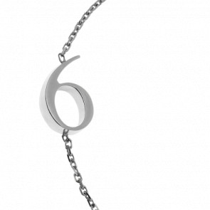 "Bracelet Chiffre ""6"" Or Blanc"