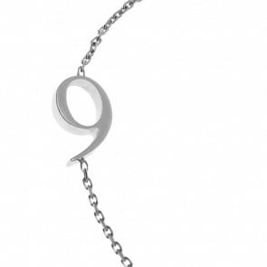 "Bracelet Chiffre ""9"" Or Blanc"