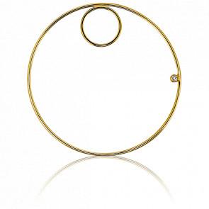 Pendentif Double Circle Or Jaune et Diamant Ø48 mm - Ocarat