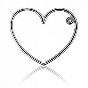 Pendentif Simply Coeur Or Blanc et Diamant - Ocarat