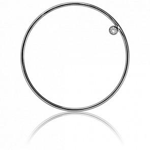 Pendentif Simply Circle Or Blanc et Diamant Ø31 mm - Ocarat