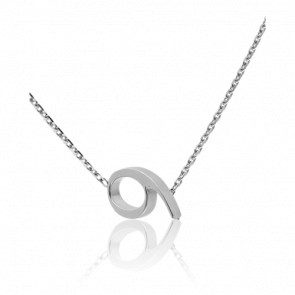 """Collier Chiffre """"9"""" Or Blanc 18K"""