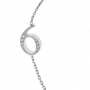 """Bracelet Chiffre """"6"""" Or Blanc et Diamants"""