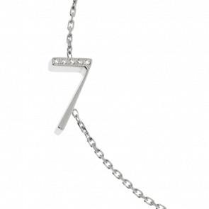 """Bracelet Chiffre """"7"""" Or Blanc et Diamants"""