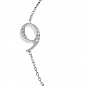 """Bracelet Chiffre """"9"""" Or Blanc et Diamants"""