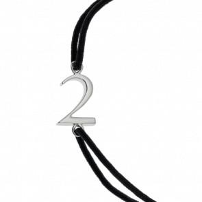 """Bracelet Chiffre """"2"""" Cordon et Argent"""
