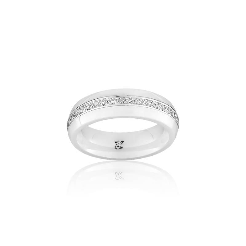 Enlacement divin bague en c ramique blanche et or blanc et diamants ocarat - Bague en ceramique ...