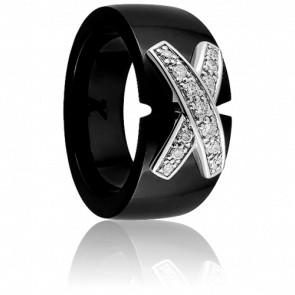 Bague Noire 2 liens diamantés - Jeell