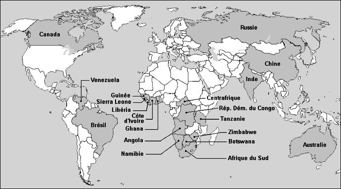 Carte des producteurs de Diamants