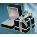 Alliance Half Eternity diamants noirs 0,25 ct & or blanc 18K